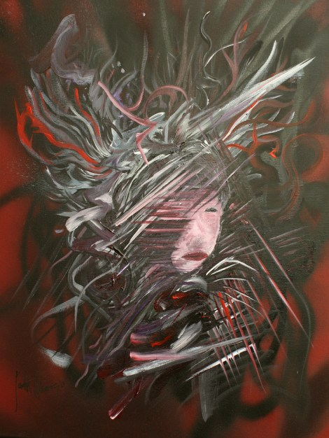 """Title:Her Ghost #1 Medium:Acrylic and Spray Paint Size:24"""" x 36"""""""