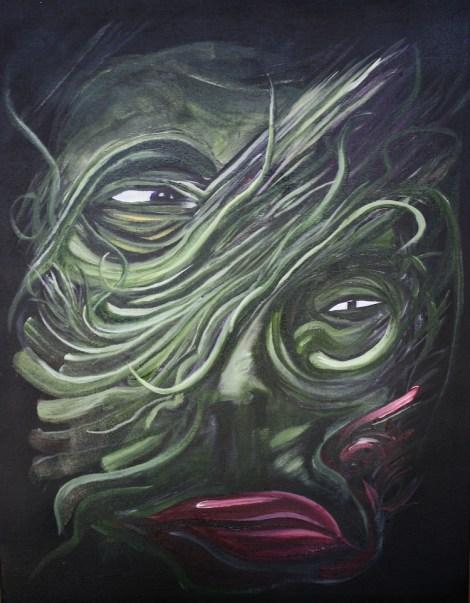"Title:Untitled Medium:Acrylic and Spray Paint Size:14"" x 18"""