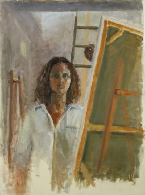 Titleportrait with ladder   Medium	oil on canvas   Size	90/120 cm