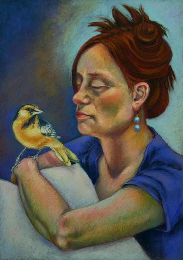 Title Yellow Bird Medium Pastel Size 27x19