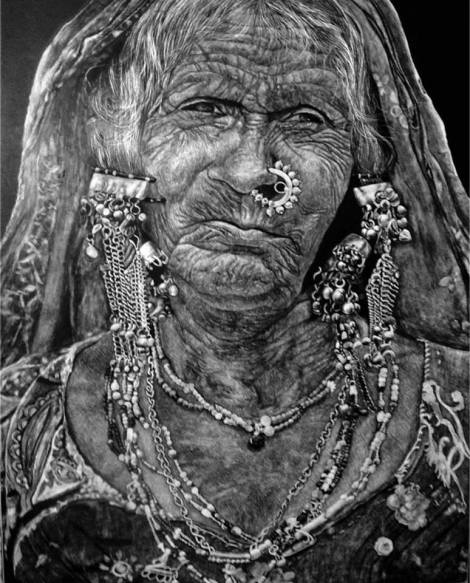 TitleBanjara - The Indian Gypsy   Medium	Scratchboard with X-Acto 11 scalpel knife   Size	15x18