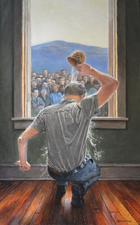"TitleBaptism, A Self-Portrait   Medium	Oil on panel   Size	22""w X 36""h"