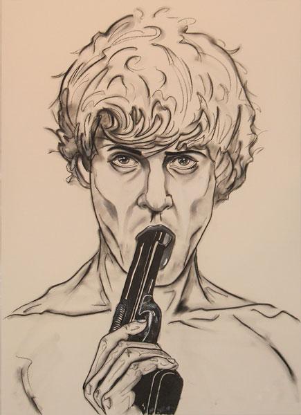 TitleSHALL I DIE   Mediummixed media on canvas, charcoal chalk acrylics   Size100 x 70 x 4 cm