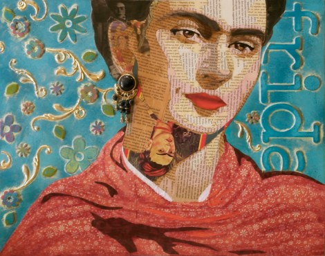 "TitleFrida Reappropriated   Medium	Mixed Media Collage   Size	20"" x 16"""