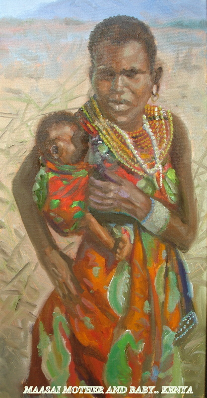TitleMaasii Maiden.with Baby..(Tanzania)   Medium	oil   Size	24x18