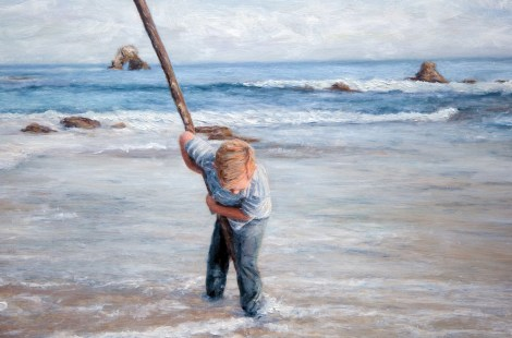 TitleBig stick and Boy   Medium	Photography and oil painting   Size	16x12