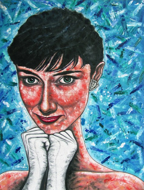 "Title""Audrey, Larger Than Life""   Medium Oil & ink on wood   Size36"" x 48"""