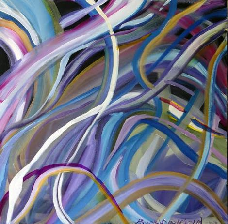 Title:Ribbons & Swirls Medium:	Acrylic Size:	20x20