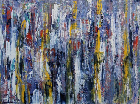 "Title:Lupin Fields Medium:Mixed Media on canvas Size:30""x40""x1.5"""