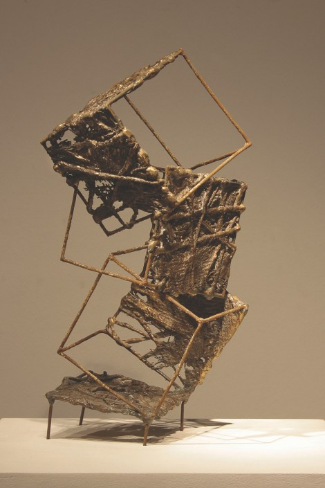 Title:Climbing Medium:	bronze cast, welded wire Size:	16x33x17cm