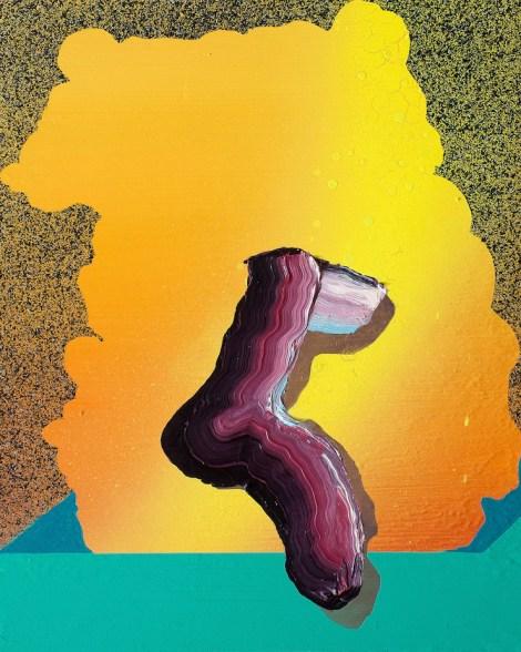 "Title:Ooze Medium:Acrylic, Oil and Aerosol on panel Size:8"" x 10"""