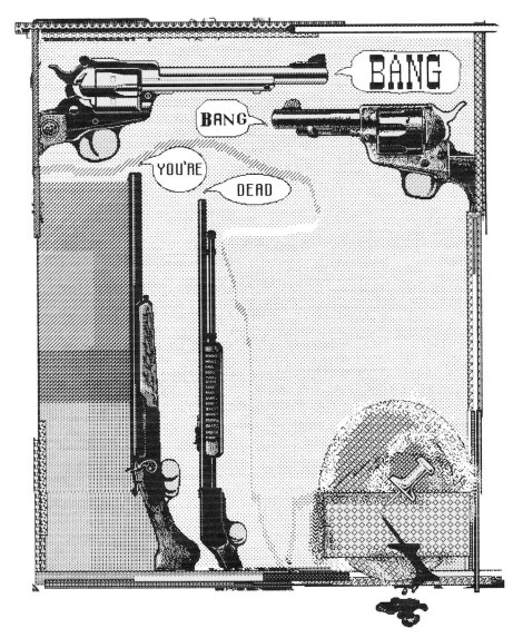 "Title:Bang, Bang You're Dead Medium:Digital Drawing Size:12x16"""