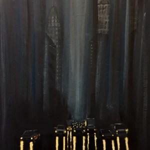 Title NYC at night in the rain Medium Acrylic Size 24 x 36