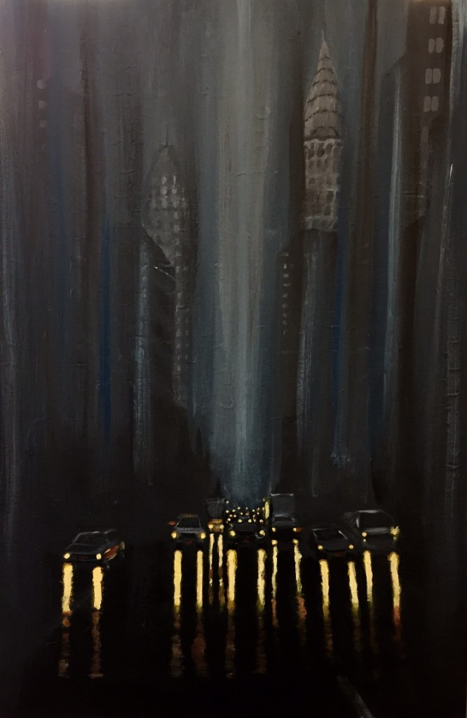Title NYC at night in the rain Medium Acrylic Size 24 x 36