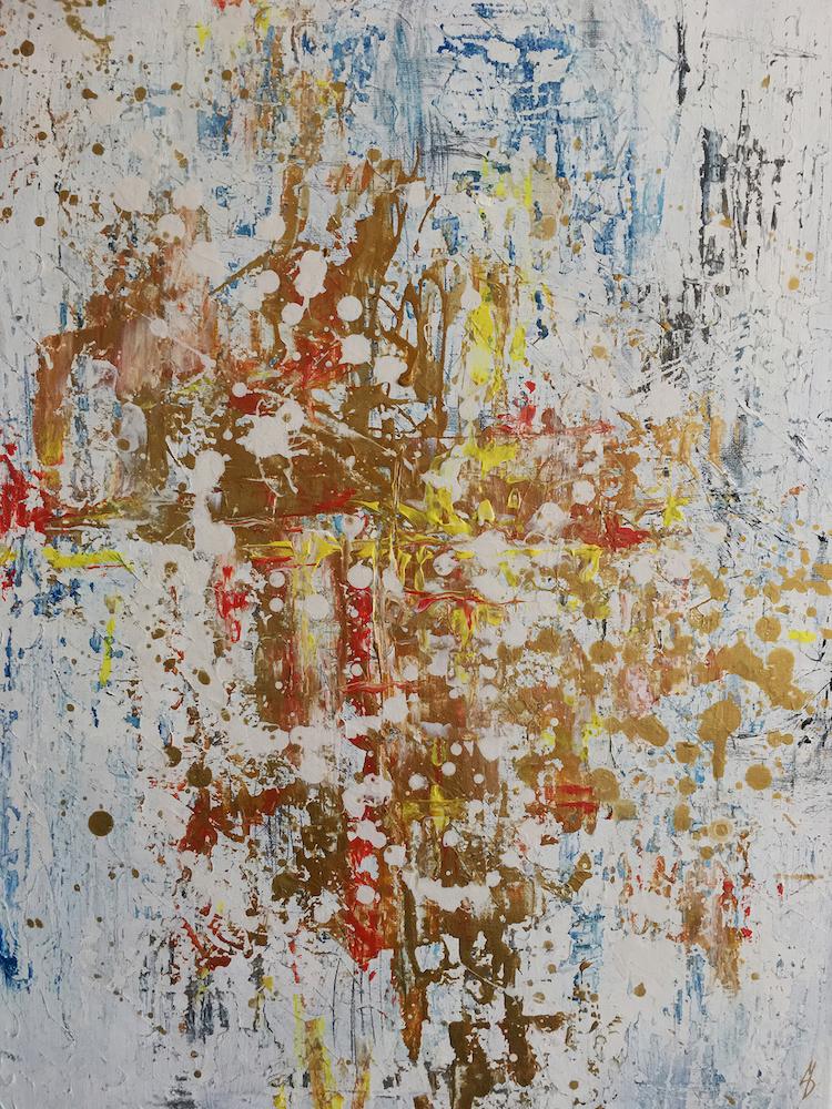 "Title Abstract III Medium Acrylics Size 24"" x 18"""