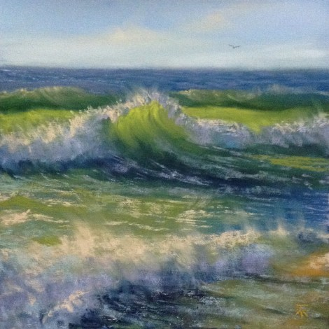 "Title:Sunny Waves Medium:	Pastel Size:	8""x8"""