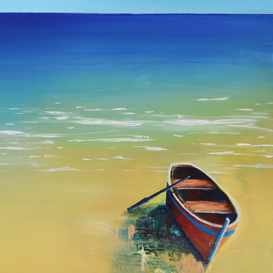 "Title:Fishing Boat On A Beach Medium: Acrylic Size:16"" x 16"""