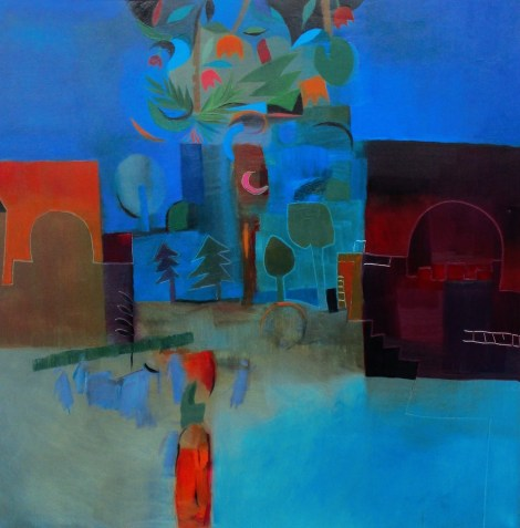 "Title:Hollywood, Bollywood, ""My Wood"" Medium:Oil on canvas Size:39 x 39"