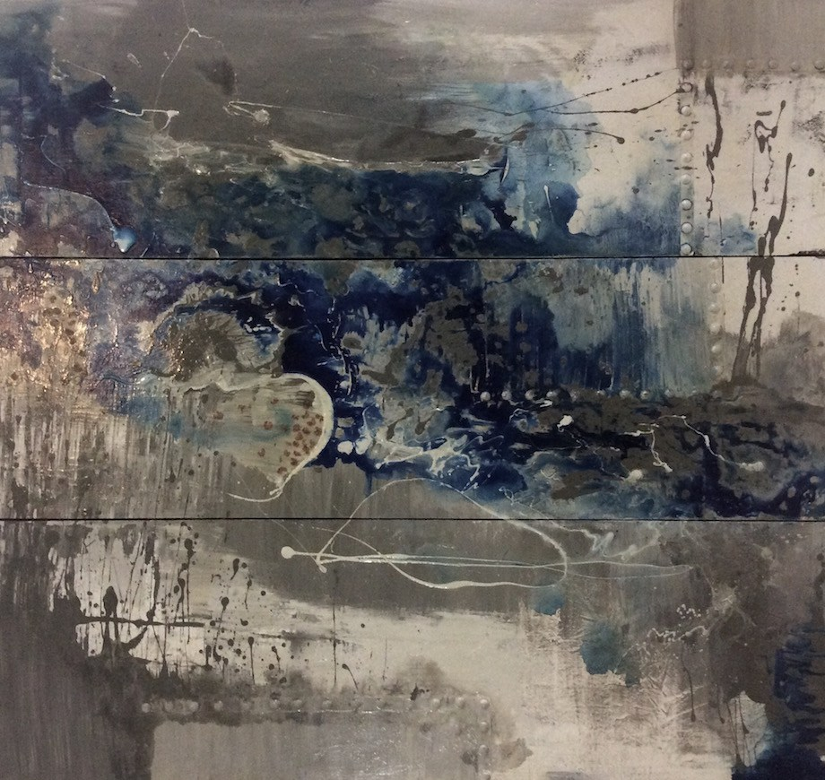 """Title GLACIAL """"The Aqueous Evanescence"""" Medium Water and mix media on Wood Size 72""""x84"""" - 182cmx214cm (24""""x84""""each panel)"""