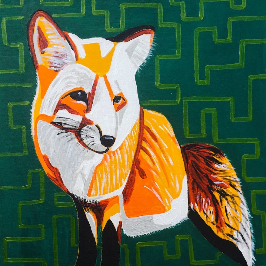 "Title:Frieda the Fox Medium:	acrylic Size:	10"" x 10"""
