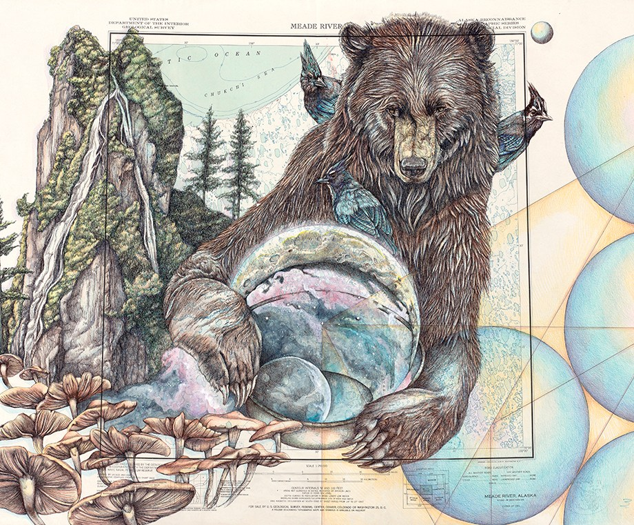 Title: North 3.1 Medicine Medium: Ink and Colored Pencil on Alaska Topographic Map Size: 22 x 30 inches