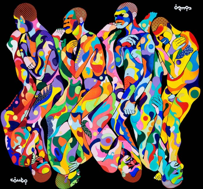 """Title:The middle Passage Medium:Acrylic on Canvas Size:6' x 5'6"""""""