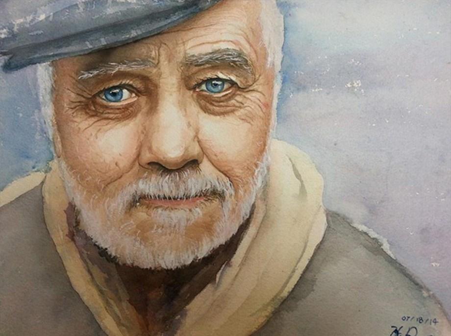 "Title:Oldman Medium:Watercolor Size:11""x15"""