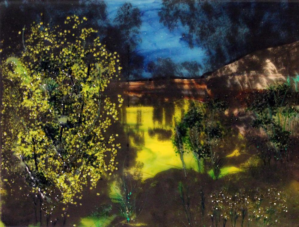 "Title: Jordan River Medium: Fused Glass, Silkscreen Size: 18 x 14"""
