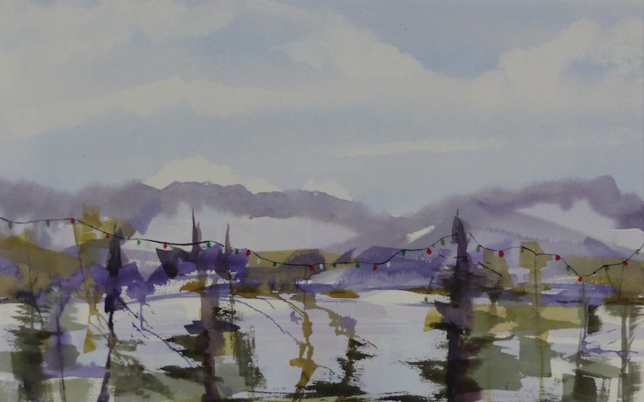"Title:West Coast Holidays Medium:	watercolor Size:	15"" x 24"""