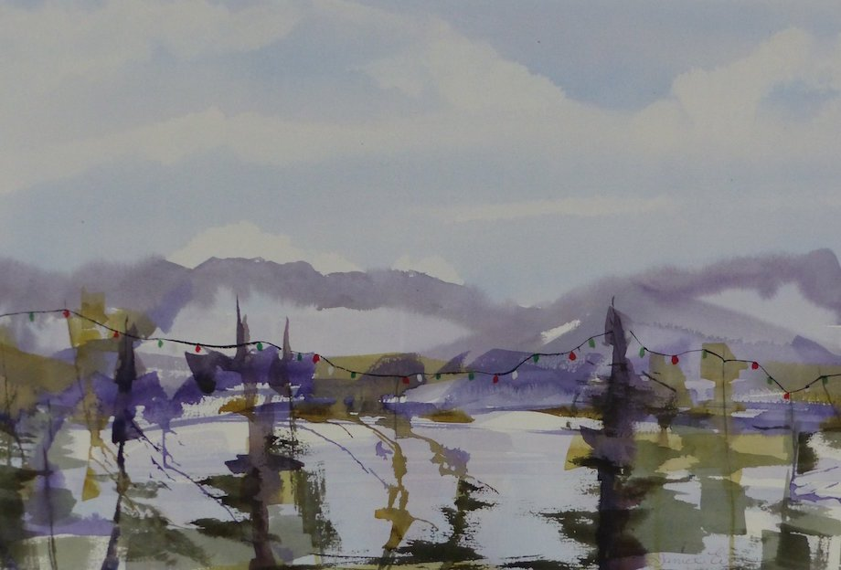 "Title: West Coast Holidays Medium: watercolor Size: 15"" x 24"""