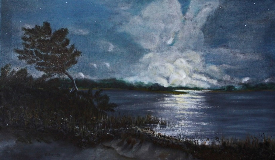 Title:Moonrise on Middle Island Medium:	Acrylics Size:	18 x 30