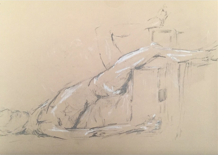 "Title:Nu, allongé (""Nude, lying down"") Medium:	graphite and pastel on kraft paper Size:	8"" x 11"""