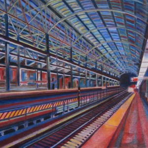 "Title: A Brooklyn Subway Medium: colored pencils, wax art bars & oil pastels Size: 27"" X 37"""