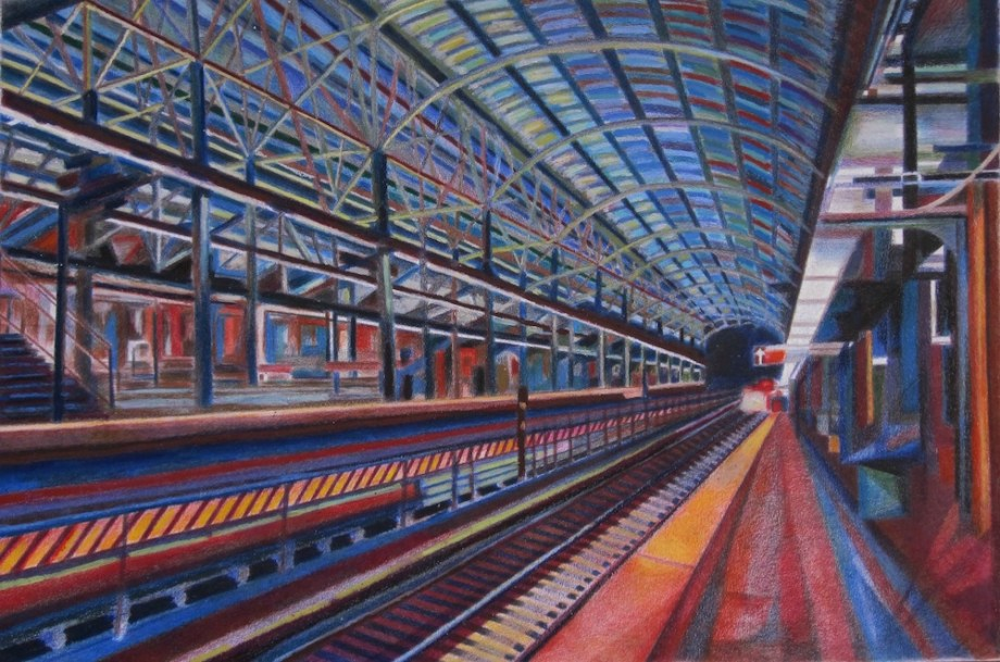 "Title:A Brooklyn Subway Medium:	colored pencils, wax art bars & oil pastels Size:	27"" X 37"""