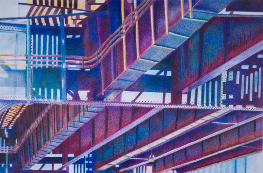 """Title:Under The 215th St Subway Inwood NY Medium:colored pencils & oil pastels Size:27"""" X 37"""""""
