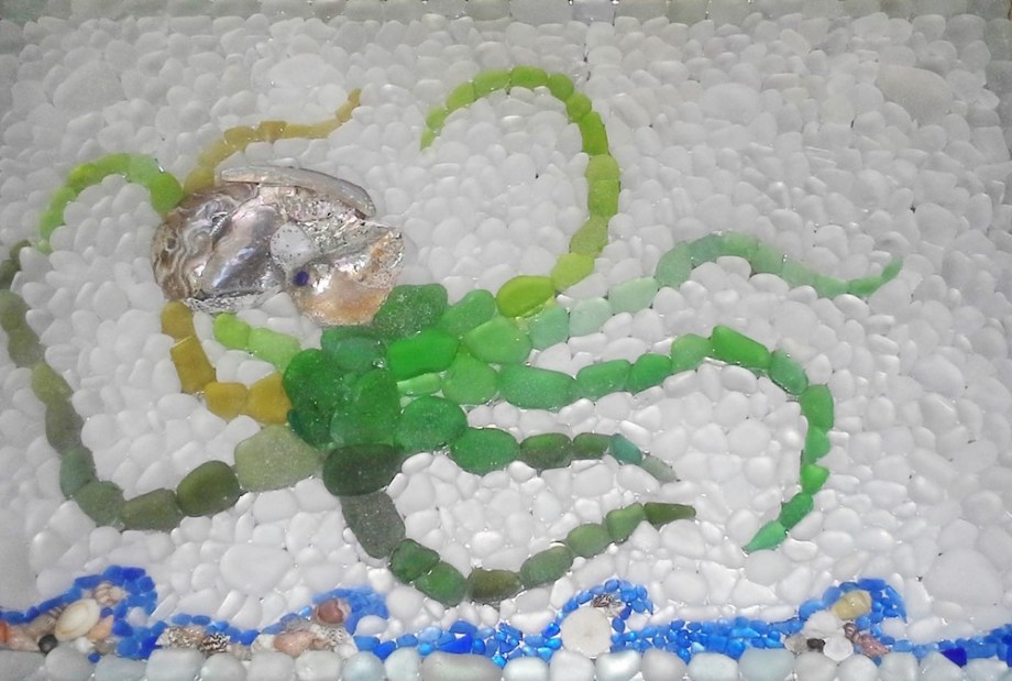 Title:Sea Glass Octopus Mosaic Table Medium:	Sea Glass Mosaic Size:	3'x2'x1'