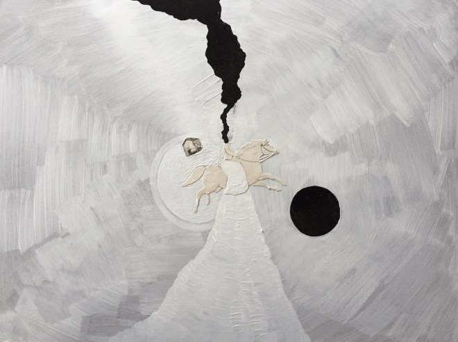 Title:Eclipse no.6 Medium:Mixed media Collage Size:8x10