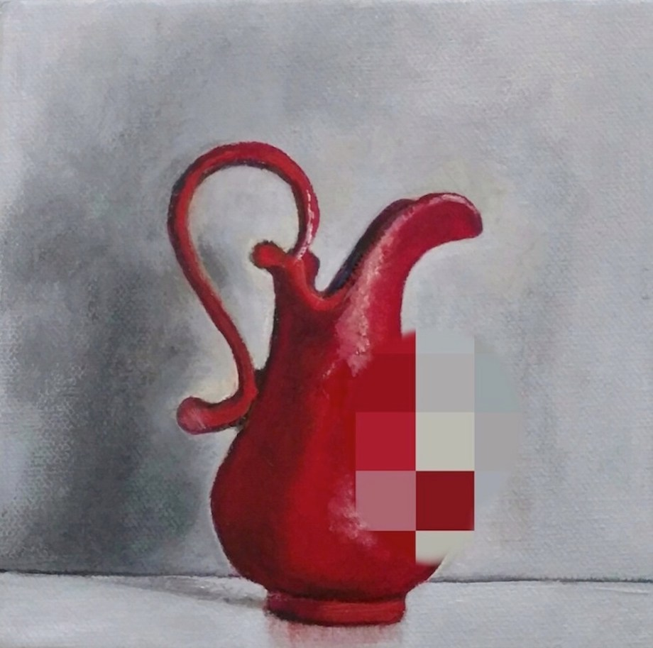Title:Pixelated Pitcher Medium:	Oil on canvas Size:	W 7 in. x H 7 in.