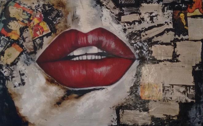 Title:My boca fala Medium: acrilico e fotografia Size:50x80