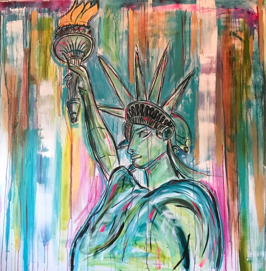Title:Lady of Liberty Medium:	Acrylic Size:	48x48