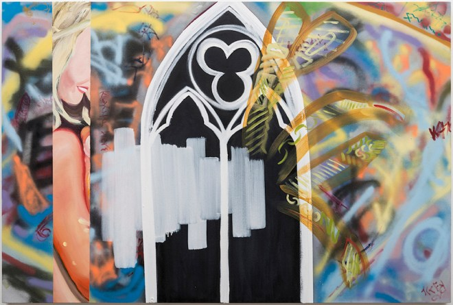 "Title:Divine Right Medium:aerosol and oil on canvas Size:40"" x 60"""