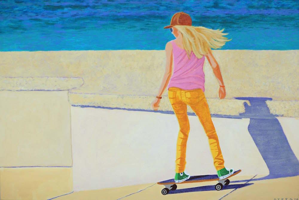 "Title: Pacific Skater Medium: Acrylic Size: 24"" x 36"""