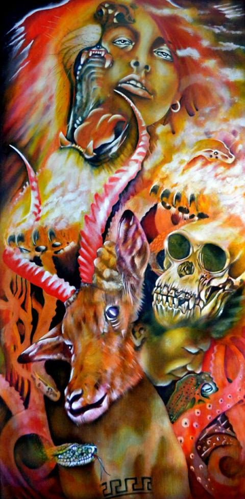 Title:Atavistic Medium:	Oil on wood Size:	48 inches by 24 inches