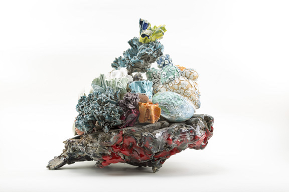 Title: Coral Stack Medium: ceramic materials, paint, & flock Size: 18 x 14 x 8 inches