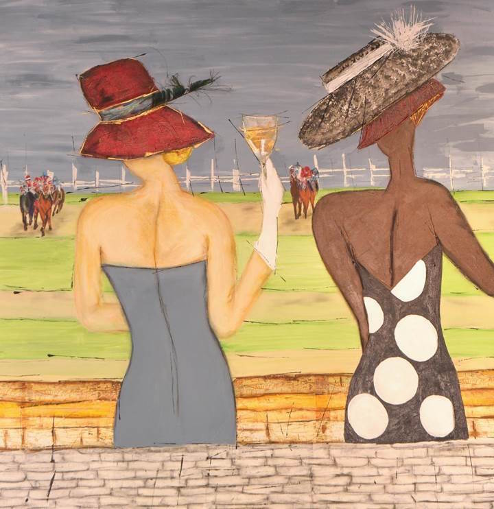Title:Day At The Races Medium:Mixed-Acrylic, Oil Crayon Pastel, Tissue Paper Size:5ftx5ft
