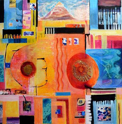 "Title: Sacred Mountain Medium: Mixed media on canvas Size: 30""x30"""
