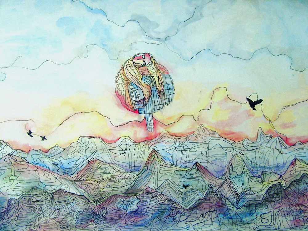 "Title: Sun one, Moon Done Medium: Watercolor and Ink Size: 20""x30"""