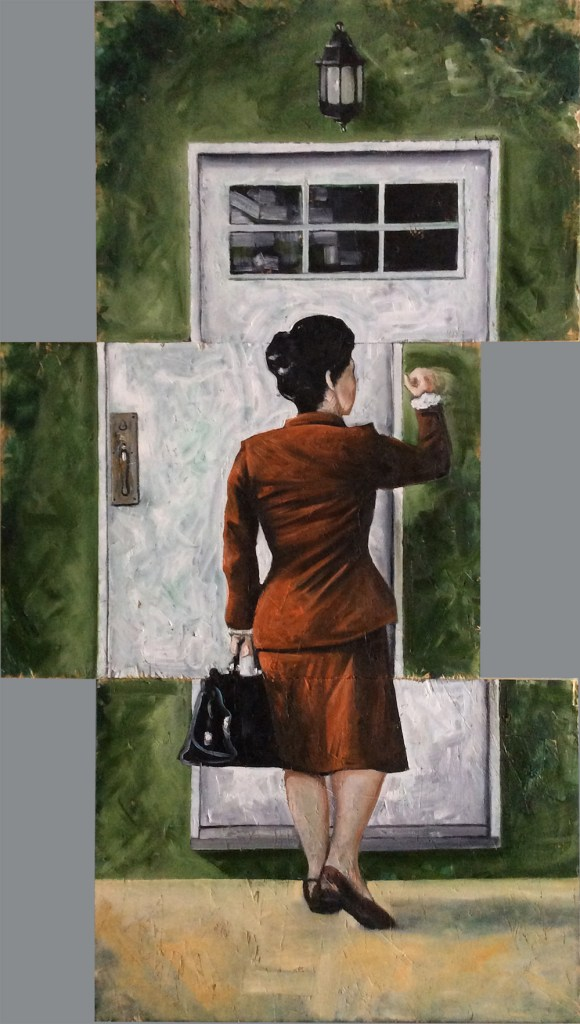 Title:Sliding door Medium:	Oil Size:	w 60 cm / h 105 cm
