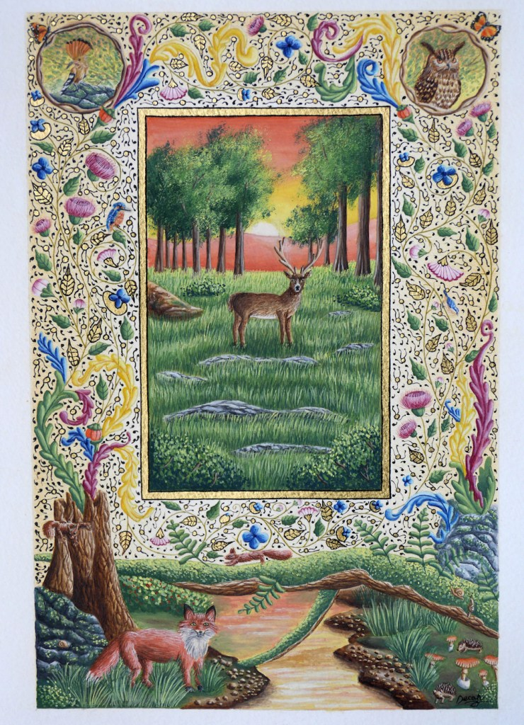 "Title:Forest at dusk Medium:Illuminated text Size:10.4"" x 14.4"""
