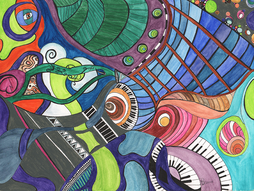 Title:Spiraling Through Time Medium:Watercolor and mixed media on paper Size:9 x 12